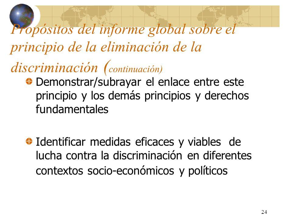 Propósitos del informe global sobre el principio de la eliminación de la discriminación (continuación)
