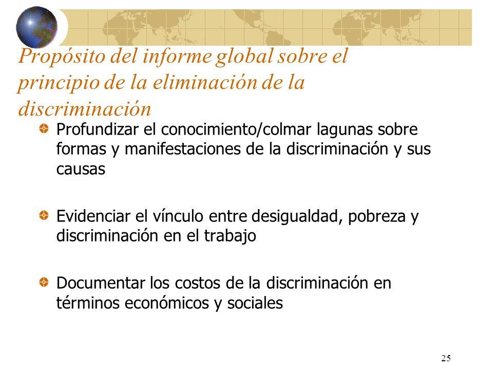Propósito del informe global sobre el principio de la eliminación de la discriminación