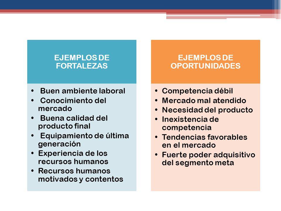 EJEMPLOS DE FORTALEZAS Buen ambiente laboral Conocimiento del mercado