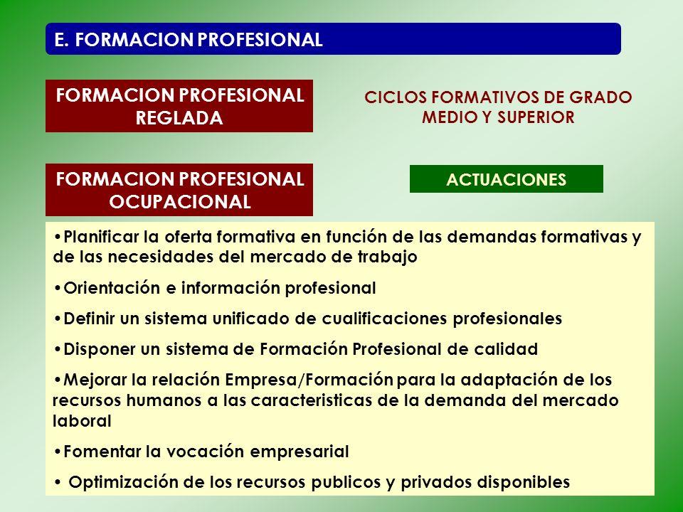 FORMACION PROFESIONAL REGLADA FORMACION PROFESIONAL OCUPACIONAL