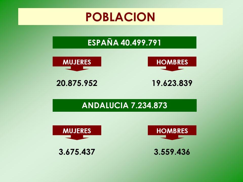 POBLACION ESPAÑA 40.499.791 20.875.952 19.623.839 ANDALUCIA 7.234.873