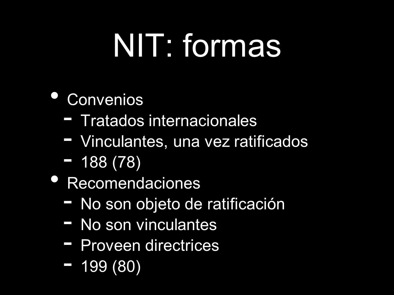 NIT: formas Convenios Tratados internacionales