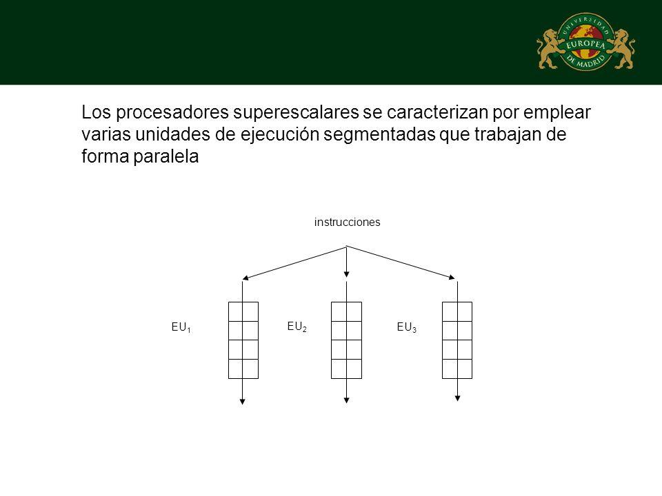 Los procesadores superescalares se caracterizan por emplear varias unidades de ejecución segmentadas que trabajan de forma paralela