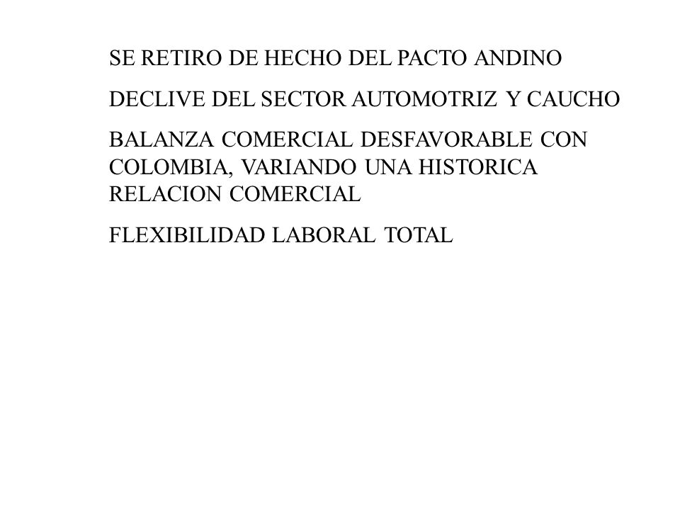 SE RETIRO DE HECHO DEL PACTO ANDINO