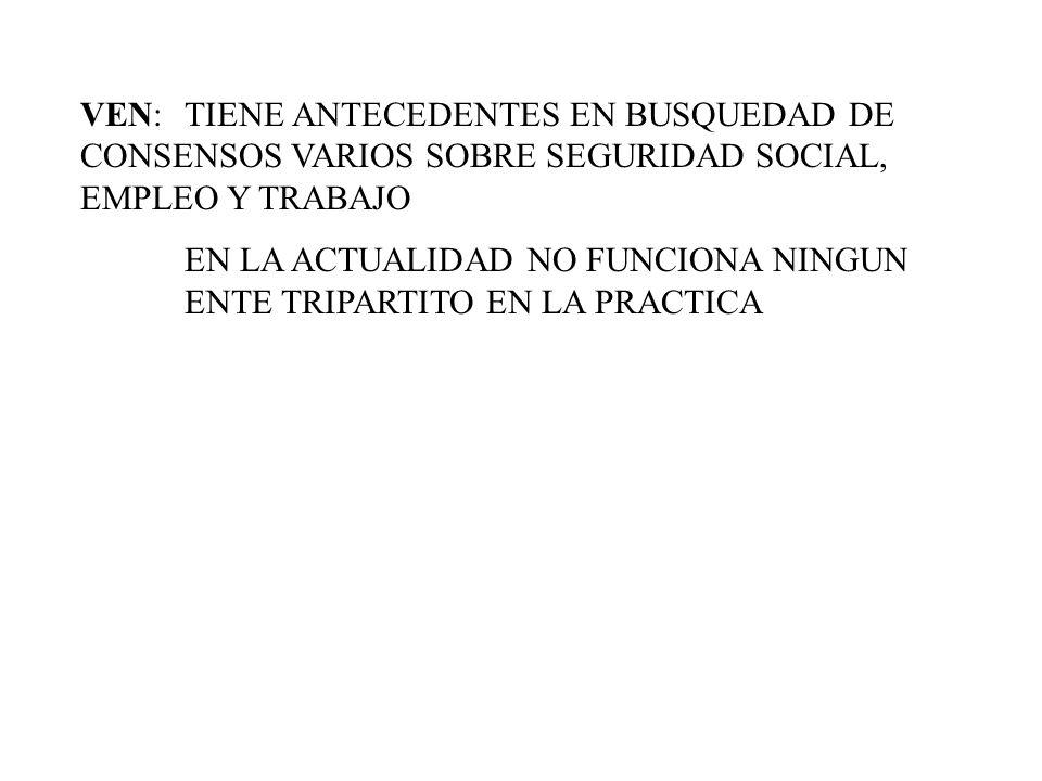 VEN: TIENE ANTECEDENTES EN BUSQUEDAD DE CONSENSOS VARIOS SOBRE SEGURIDAD SOCIAL, EMPLEO Y TRABAJO