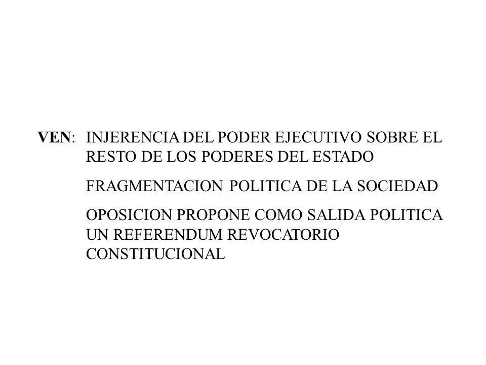 VEN:. INJERENCIA DEL PODER EJECUTIVO SOBRE EL
