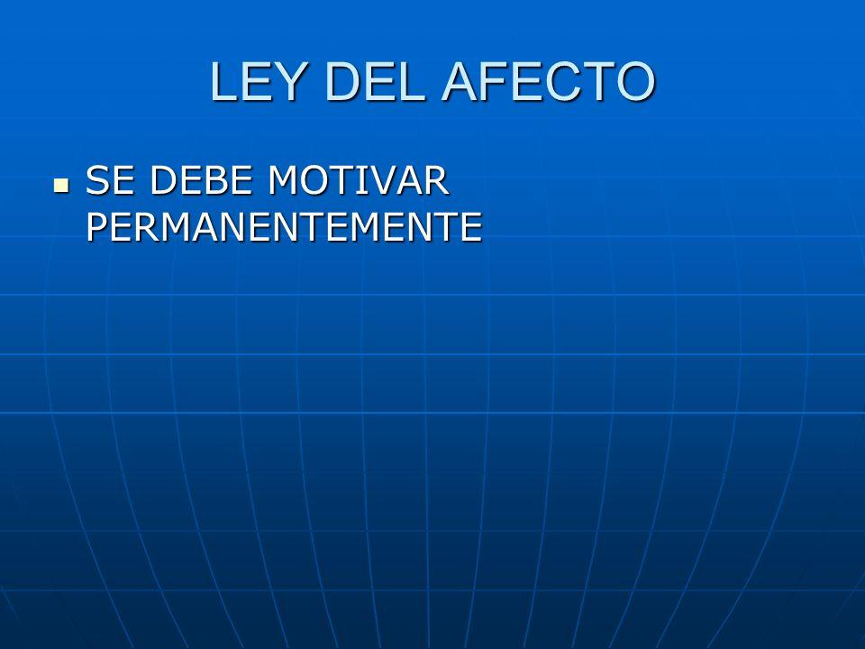 LEY DEL AFECTO SE DEBE MOTIVAR PERMANENTEMENTE