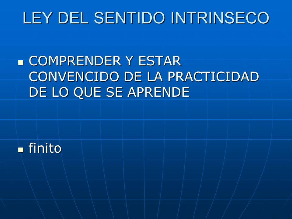 LEY DEL SENTIDO INTRINSECO