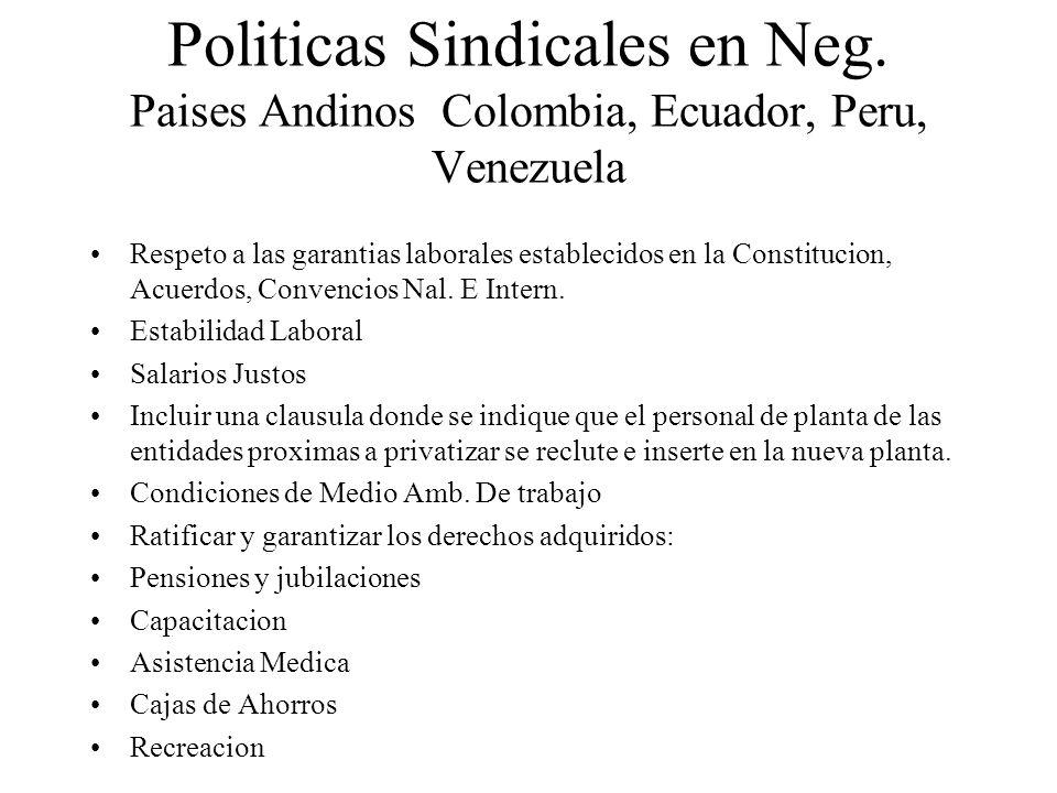 Politicas Sindicales en Neg