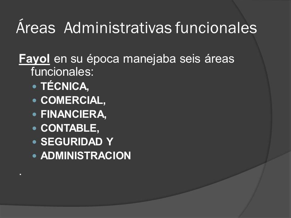 Áreas Administrativas funcionales
