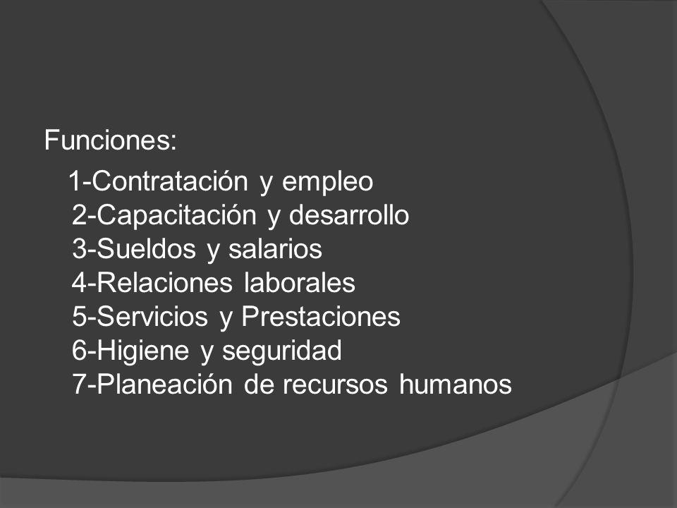 Funciones: 1-Contratación y empleo 2-Capacitación y desarrollo 3-Sueldos y salarios 4-Relaciones laborales 5-Servicios y Prestaciones 6-Higiene y seguridad 7-Planeación de recursos humanos