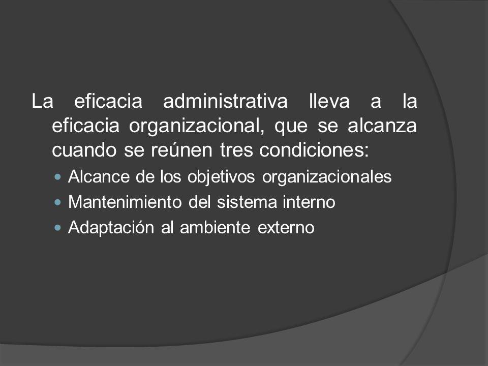 La eficacia administrativa lleva a la eficacia organizacional, que se alcanza cuando se reúnen tres condiciones: