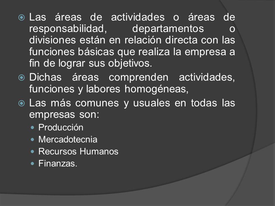 Dichas áreas comprenden actividades, funciones y labores homogéneas,