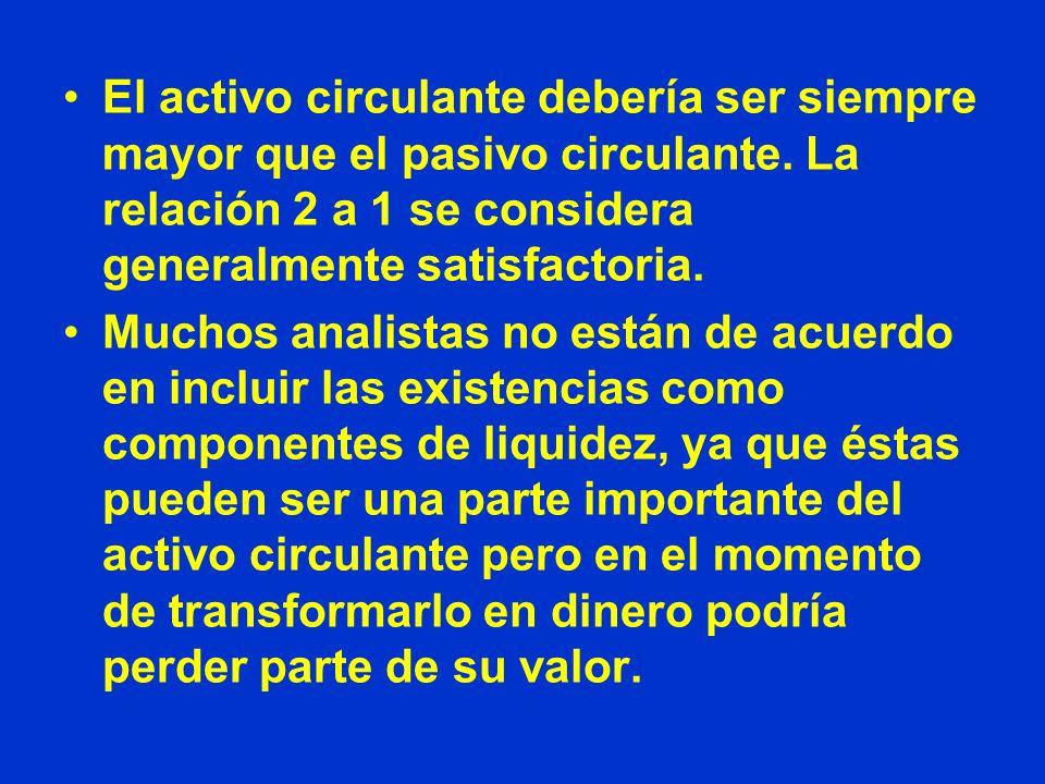 El activo circulante debería ser siempre mayor que el pasivo circulante. La relación 2 a 1 se considera generalmente satisfactoria.