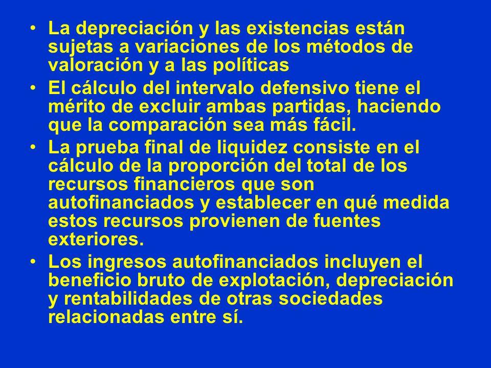 La depreciación y las existencias están sujetas a variaciones de los métodos de valoración y a las políticas
