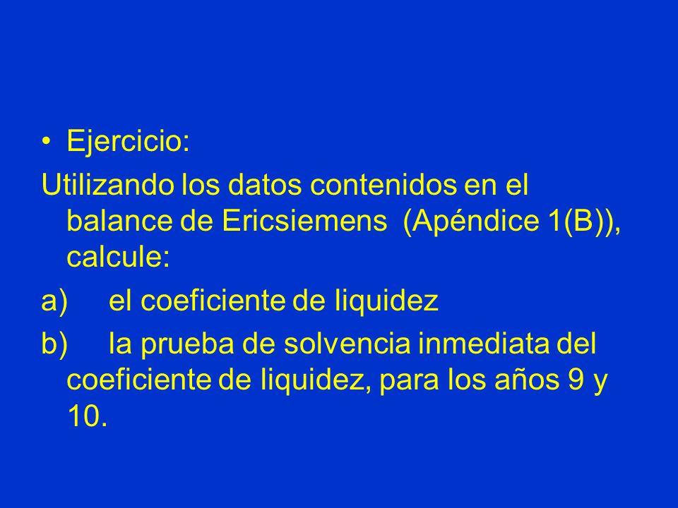 Ejercicio:Utilizando los datos contenidos en el balance de Ericsiemens (Apéndice 1(B)), calcule: a) el coeficiente de liquidez.