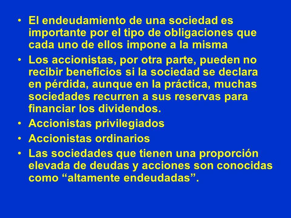 El endeudamiento de una sociedad es importante por el tipo de obligaciones que cada uno de ellos impone a la misma