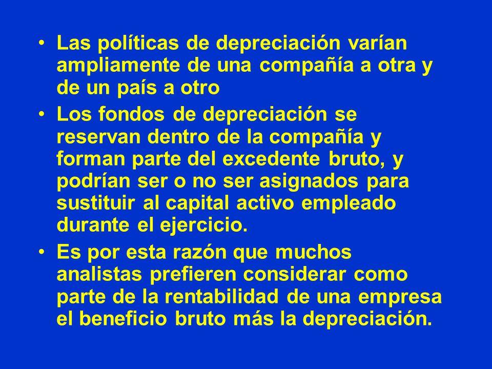 Las políticas de depreciación varían ampliamente de una compañía a otra y de un país a otro