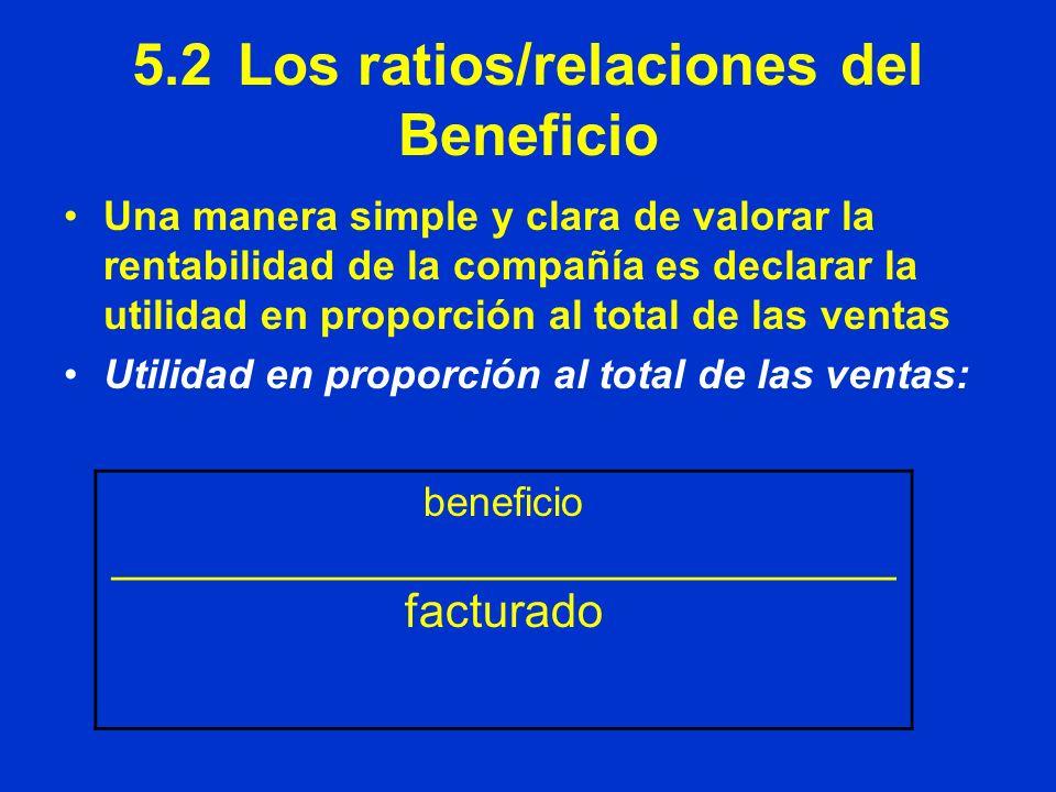 5.2 Los ratios/relaciones del Beneficio