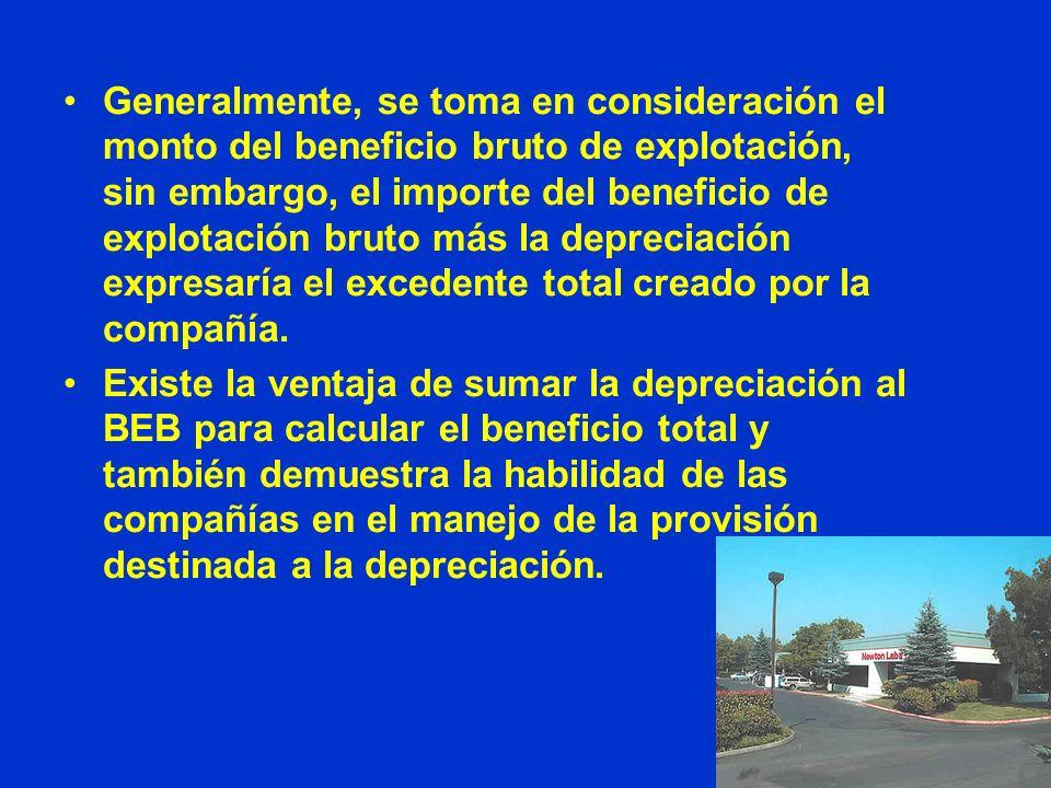 Generalmente, se toma en consideración el monto del beneficio bruto de explotación, sin embargo, el importe del beneficio de explotación bruto más la depreciación expresaría el excedente total creado por la compañía.