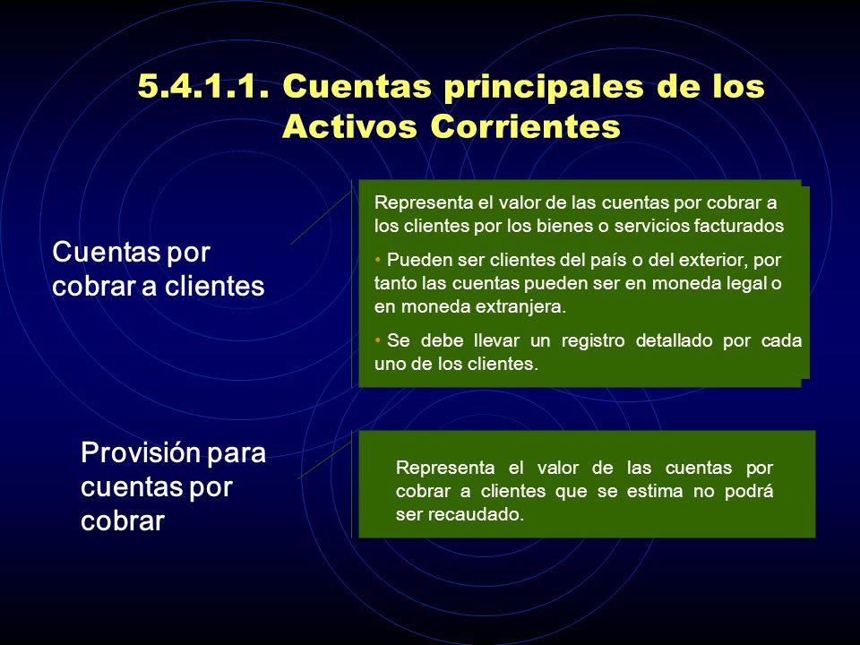 5.4.1.1. Cuentas principales de los Activos Corrientes