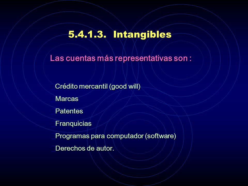 5.4.1.3. Intangibles Las cuentas más representativas son : Marcas