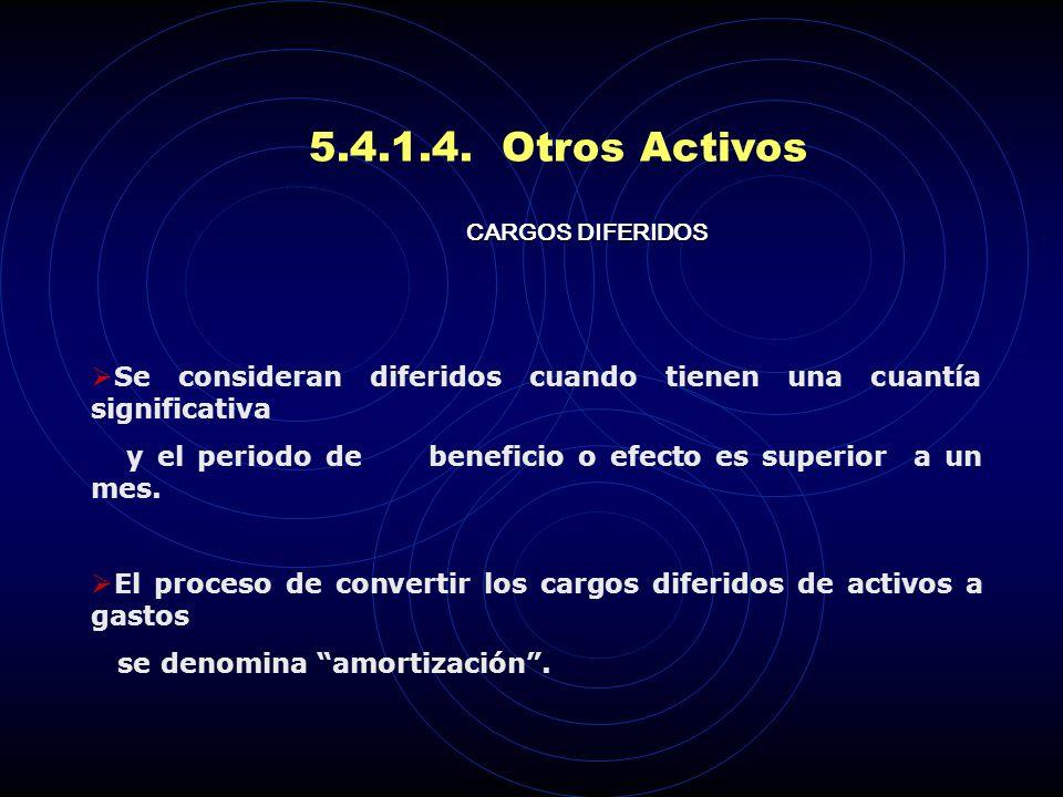 5.4.1.4. Otros Activos CARGOS DIFERIDOS. Se consideran diferidos cuando tienen una cuantía significativa.