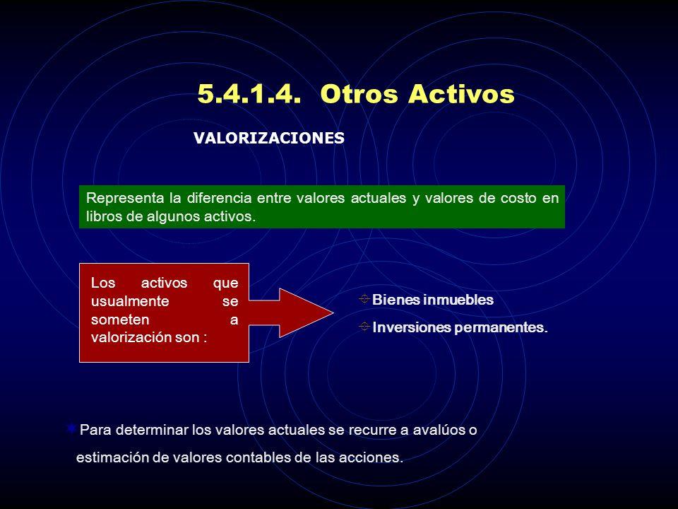 5.4.1.4. Otros Activos VALORIZACIONES