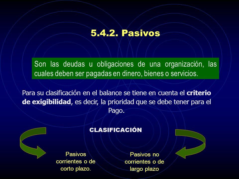 5.4.2. Pasivos Son las deudas u obligaciones de una organización, las cuales deben ser pagadas en dinero, bienes o servicios.