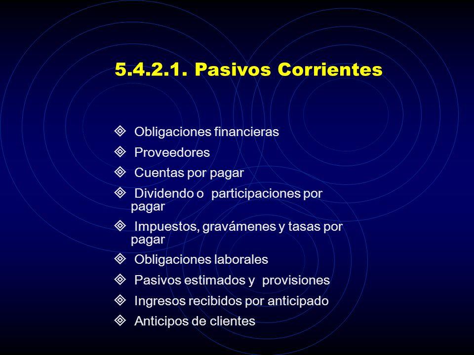5.4.2.1. Pasivos Corrientes Obligaciones financieras Proveedores