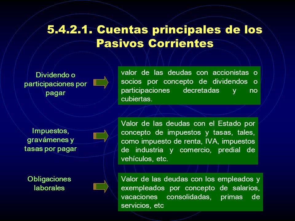 5.4.2.1. Cuentas principales de los Pasivos Corrientes