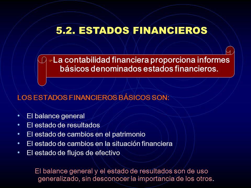 5.2. ESTADOS FINANCIEROS La contabilidad financiera proporciona informes básicos denominados estados financieros.