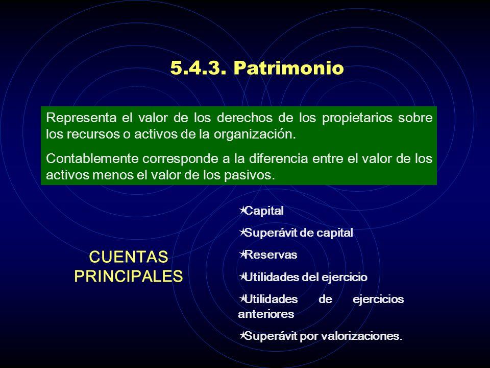 5.4.3. Patrimonio CUENTAS PRINCIPALES