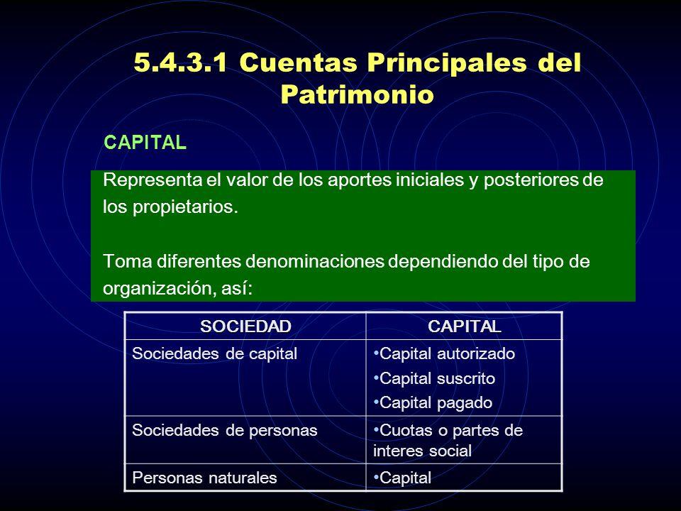 5.4.3.1 Cuentas Principales del Patrimonio