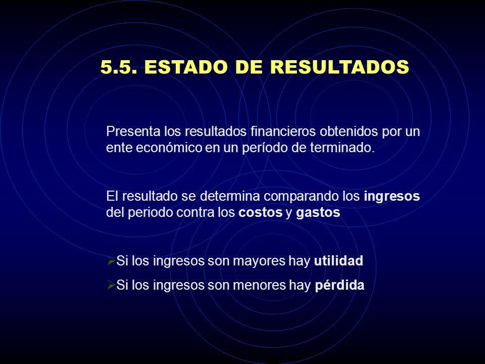 5.5. ESTADO DE RESULTADOS Presenta los resultados financieros obtenidos por un ente económico en un período de terminado.
