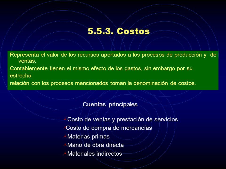 5.5.3. Costos Cuentas principales