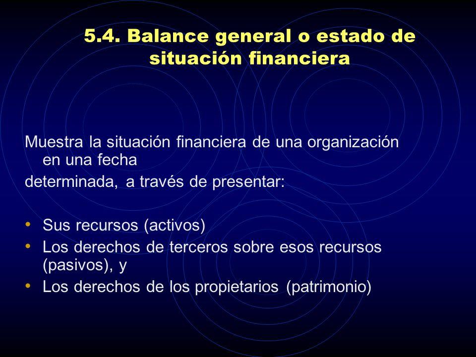 5.4. Balance general o estado de situación financiera