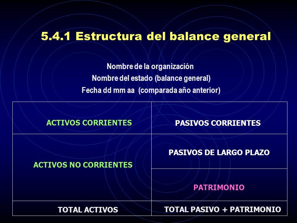 5.4.1 Estructura del balance general
