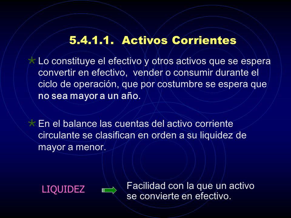 5.4.1.1. Activos Corrientes