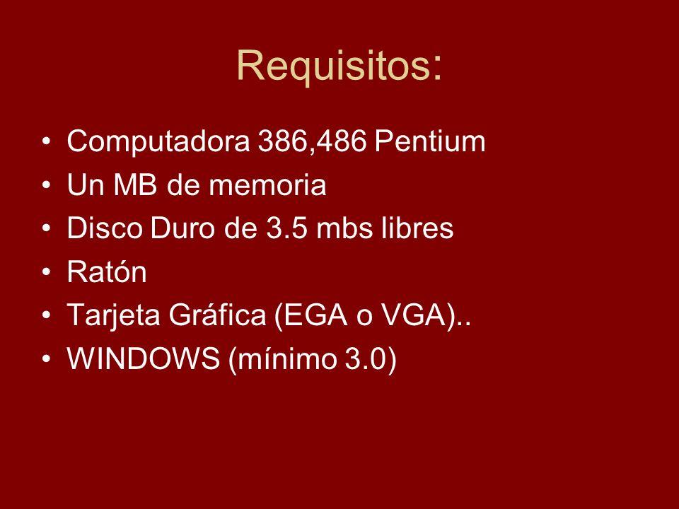 Requisitos: Computadora 386,486 Pentium Un MB de memoria
