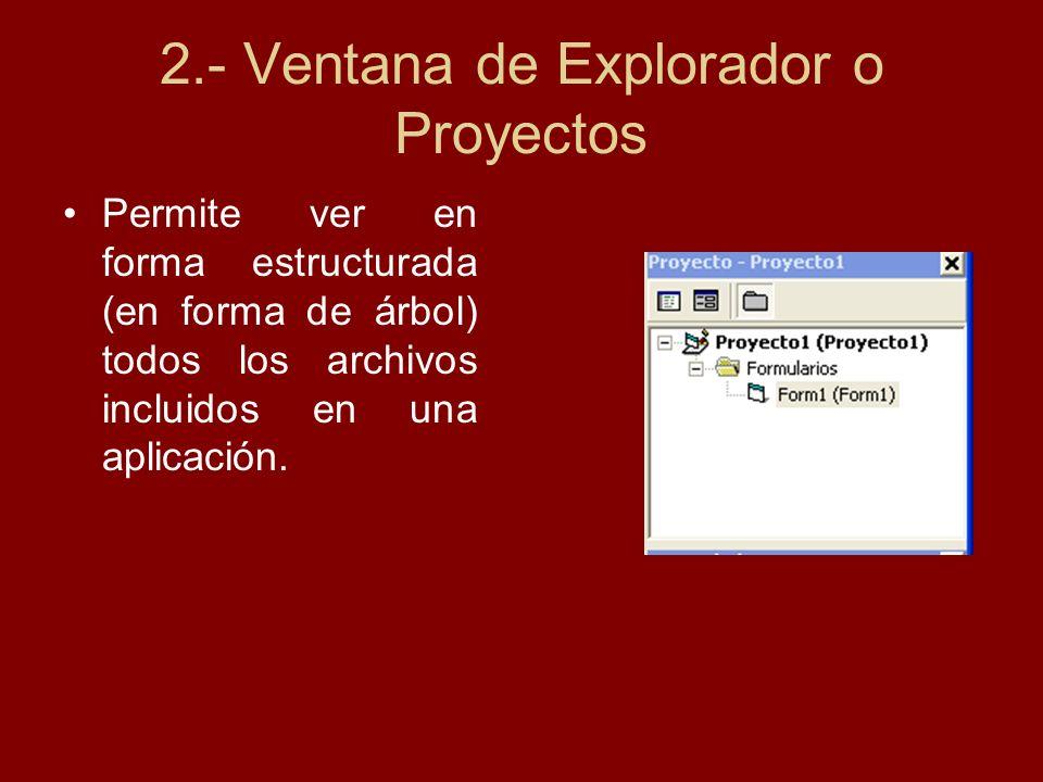 2.- Ventana de Explorador o Proyectos