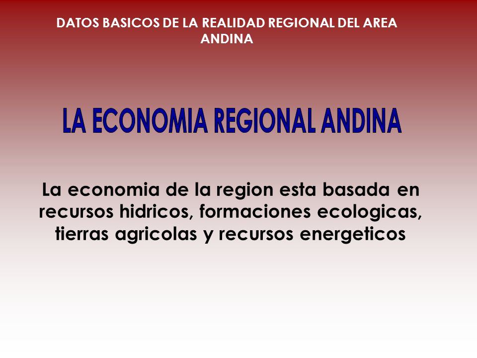 LA ECONOMIA REGIONAL ANDINA