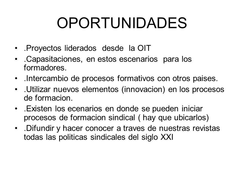 OPORTUNIDADES .Proyectos liderados desde la OIT