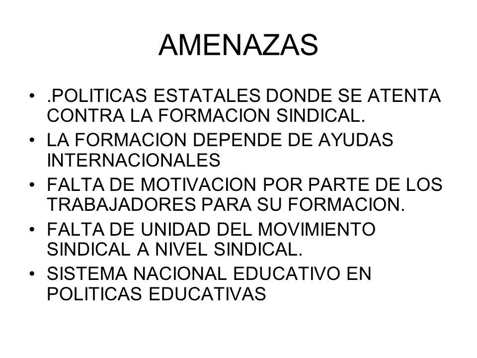 AMENAZAS.POLITICAS ESTATALES DONDE SE ATENTA CONTRA LA FORMACION SINDICAL. LA FORMACION DEPENDE DE AYUDAS INTERNACIONALES.