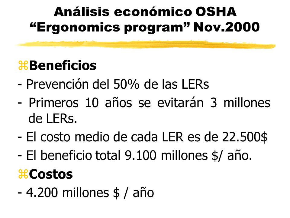 Análisis económico OSHA Ergonomics program Nov.2000