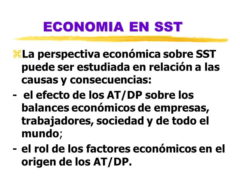 ECONOMIA EN SSTLa perspectiva económica sobre SST puede ser estudiada en relación a las causas y consecuencias: