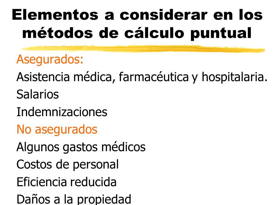 Elementos a considerar en los métodos de cálculo puntual