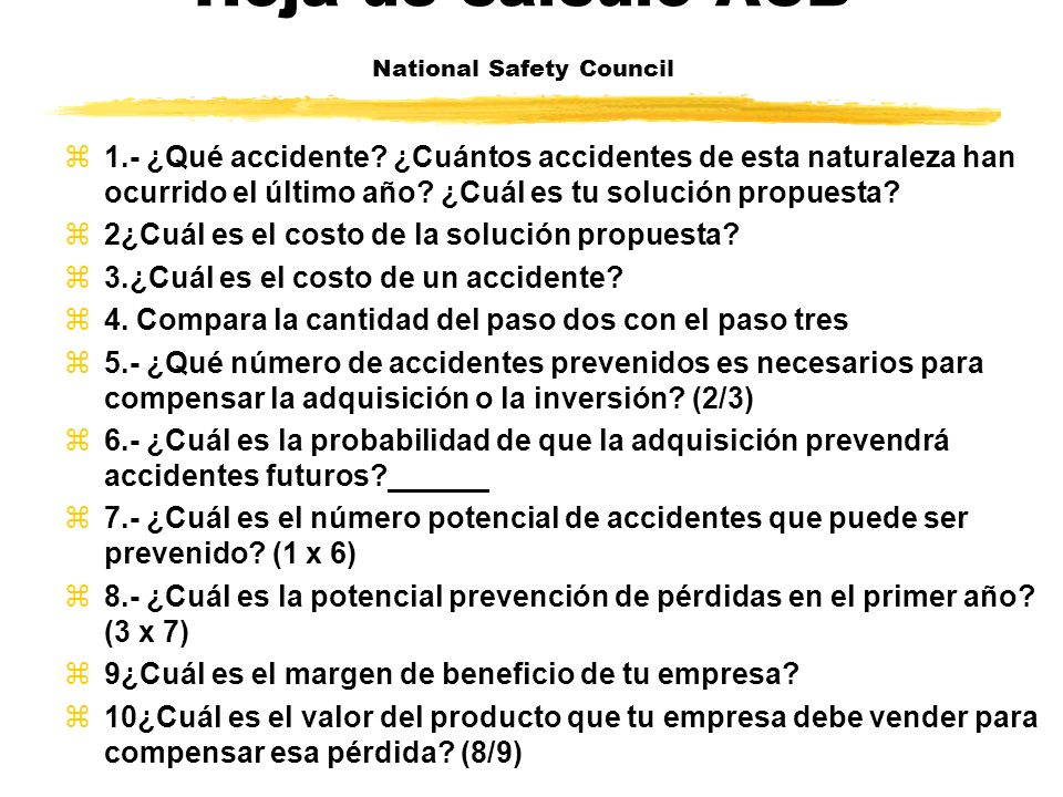 Hoja de calculo ACB National Safety Council