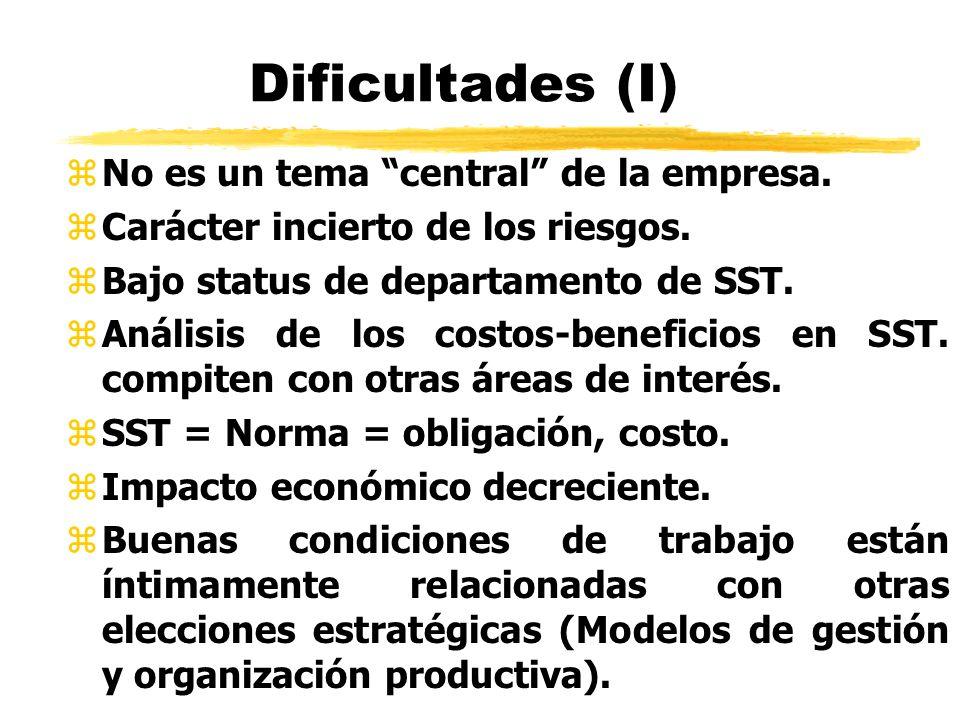 Dificultades (I) No es un tema central de la empresa.