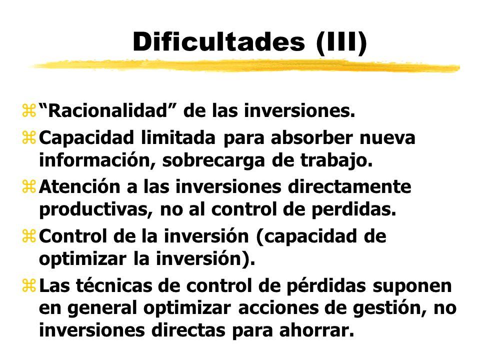 Dificultades (III) Racionalidad de las inversiones.